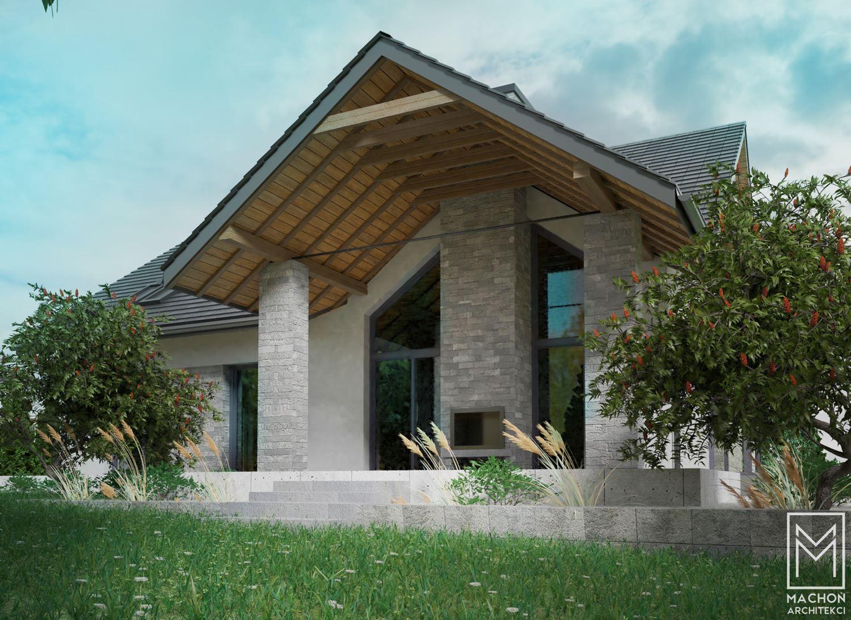 dom mieszkalny nowoczesny z tarasem