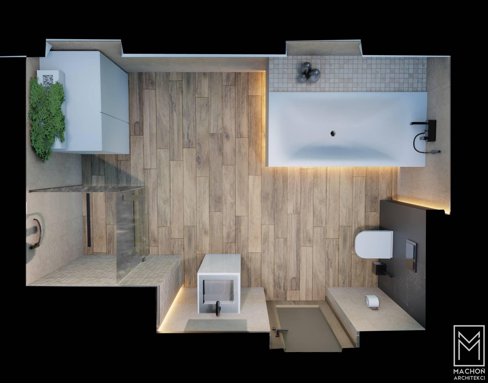 widok z góry wnętrze łazienki