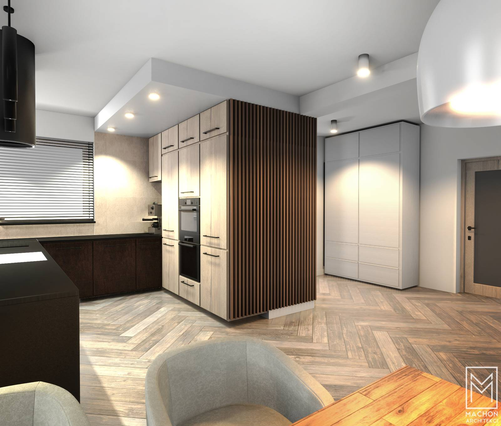 drewniane lamele na ścianie w kuchni