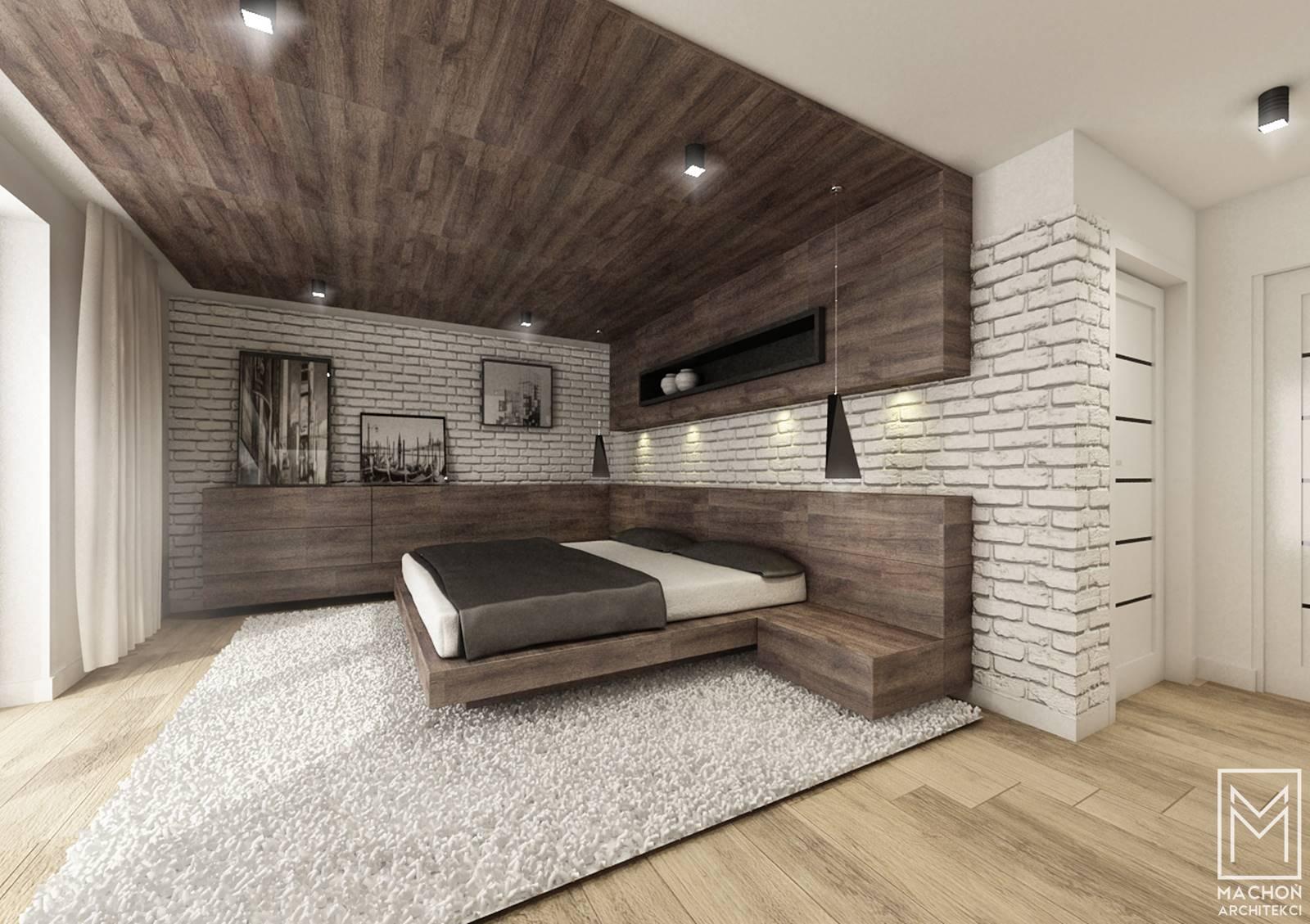 projek sypialni z drewnem