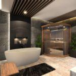 wnętrze łazienki z kamieniem naturalnym