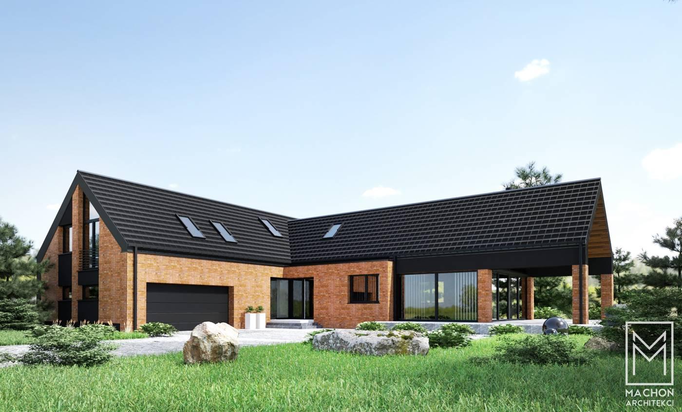 nowoczesny dom stodoła z cegłą na elewacji