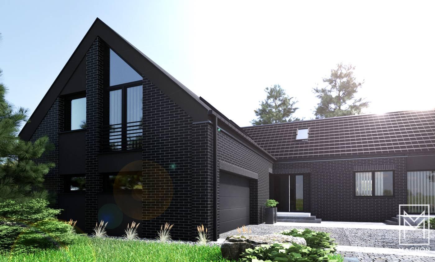 dom z czarnej cegły