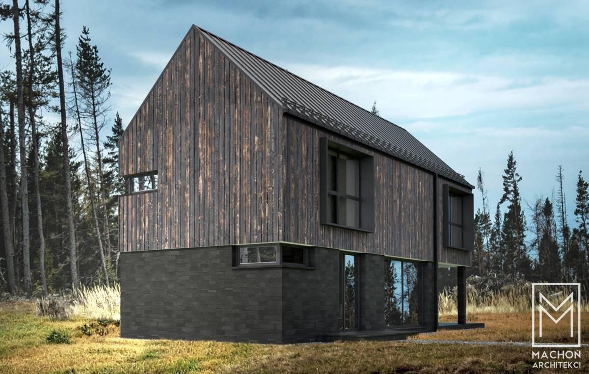 elewacja z drewna domek letniskowy nowoczesny stodoła