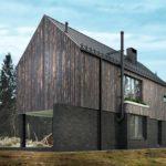 projekt domku letniskowego drewno kamień las nad morzem