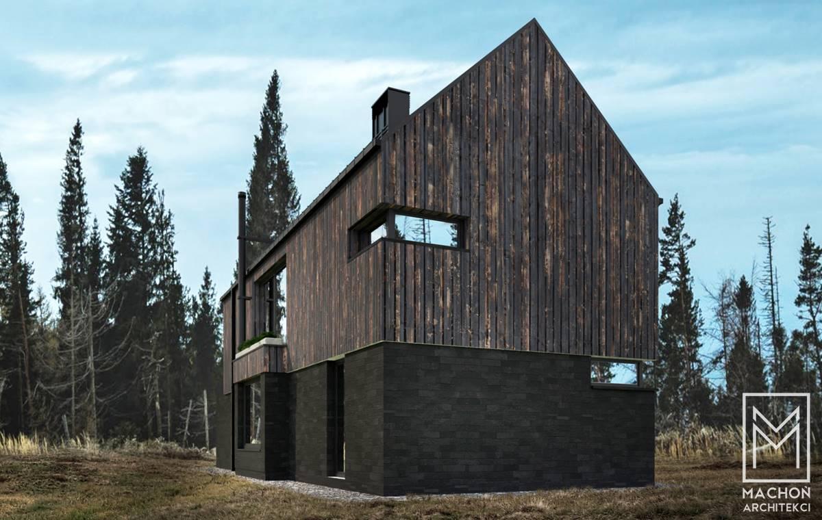domek nowoczesny stodola drewniany nad morzem