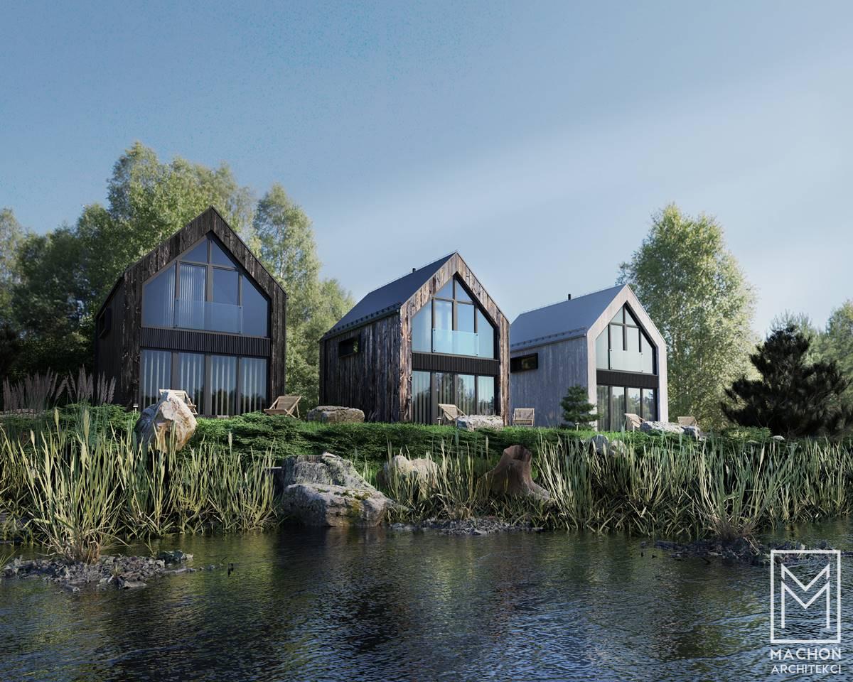 nowoczesny domek nad jeziorem letniskowy całoroczny lakus jeziorak stodoła