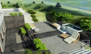 projekty ogrodów nowoczesnych machoń architekci małopolska ogrodzenie taras nawierzchnia kostka brukowa