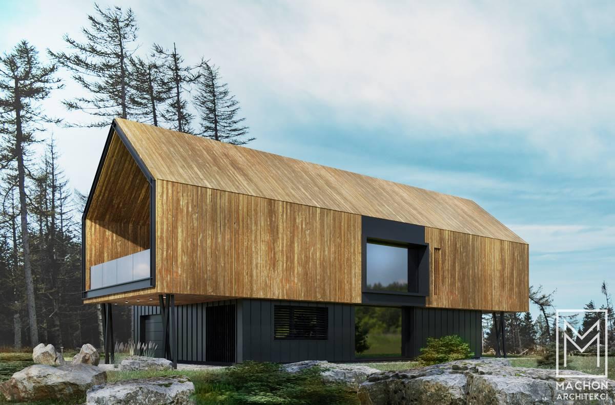 projekt indywidualny kraków małopolska budynek mieszkalny jednorodzinny stodoła nadwieszony