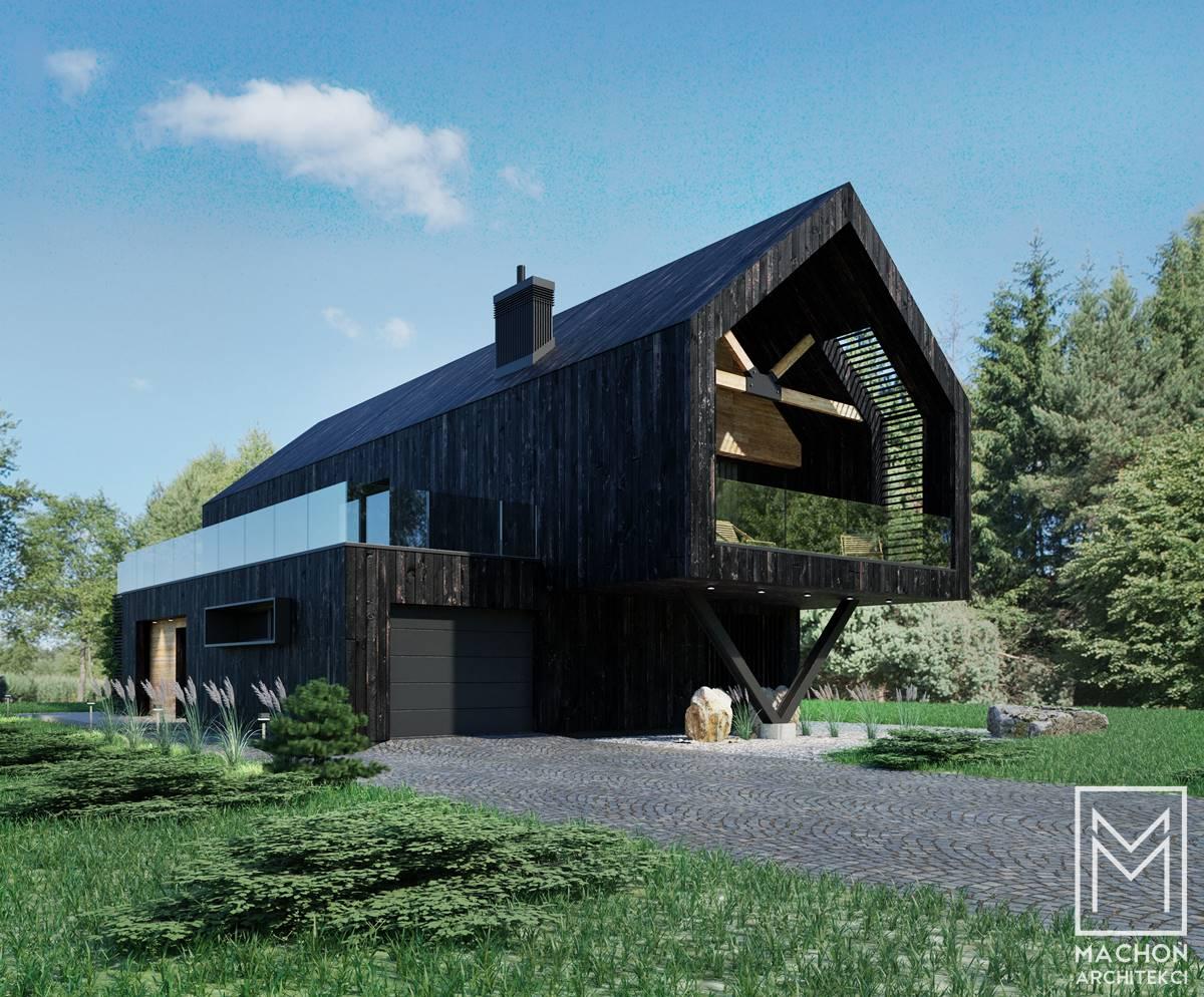 dom nowoczesny projekt machoń na stoku rabka deska elewacyjna czarna opalana shou sugi ban