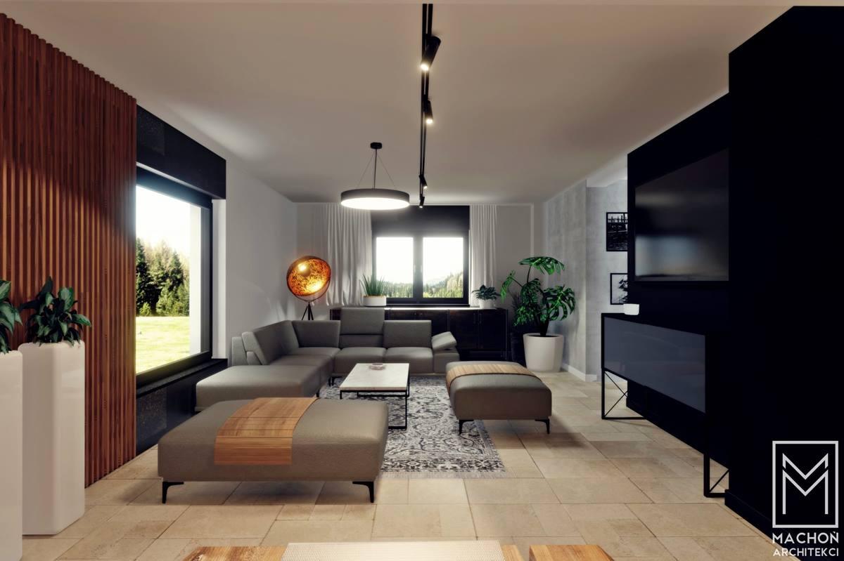 projekt wnetrza dom plr loft salon jadalnia kuchnia