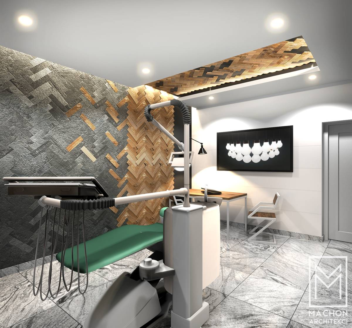 wnętrze gabinetu lekarskiego dentysta stomoatolog nowoczesne pomysl na scianę