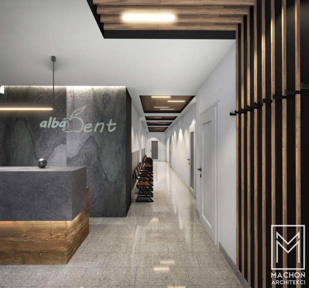 strefa wejściowa wnętrze gabinetu lekarskiego dentysta stomoatolog nowoczesne pomysl na scianę