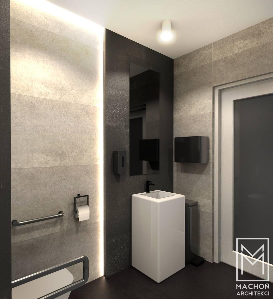 łazienka dla osób niepełnosprawnych nowoczesna czarna biała jasna nowoczesna