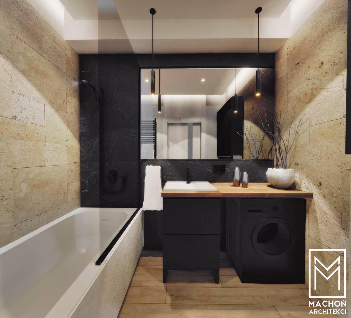 łazienka trawertyn kamien naturalny mieszkanie katowice kraków zator wadowice gliwice małopolska sląsk projekt nowoczesnego wnętrza małe mieszkanie loft