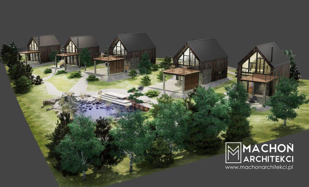 projekt ośrodka wczasowego osiedle domków nowoczesnych w bieszczadach