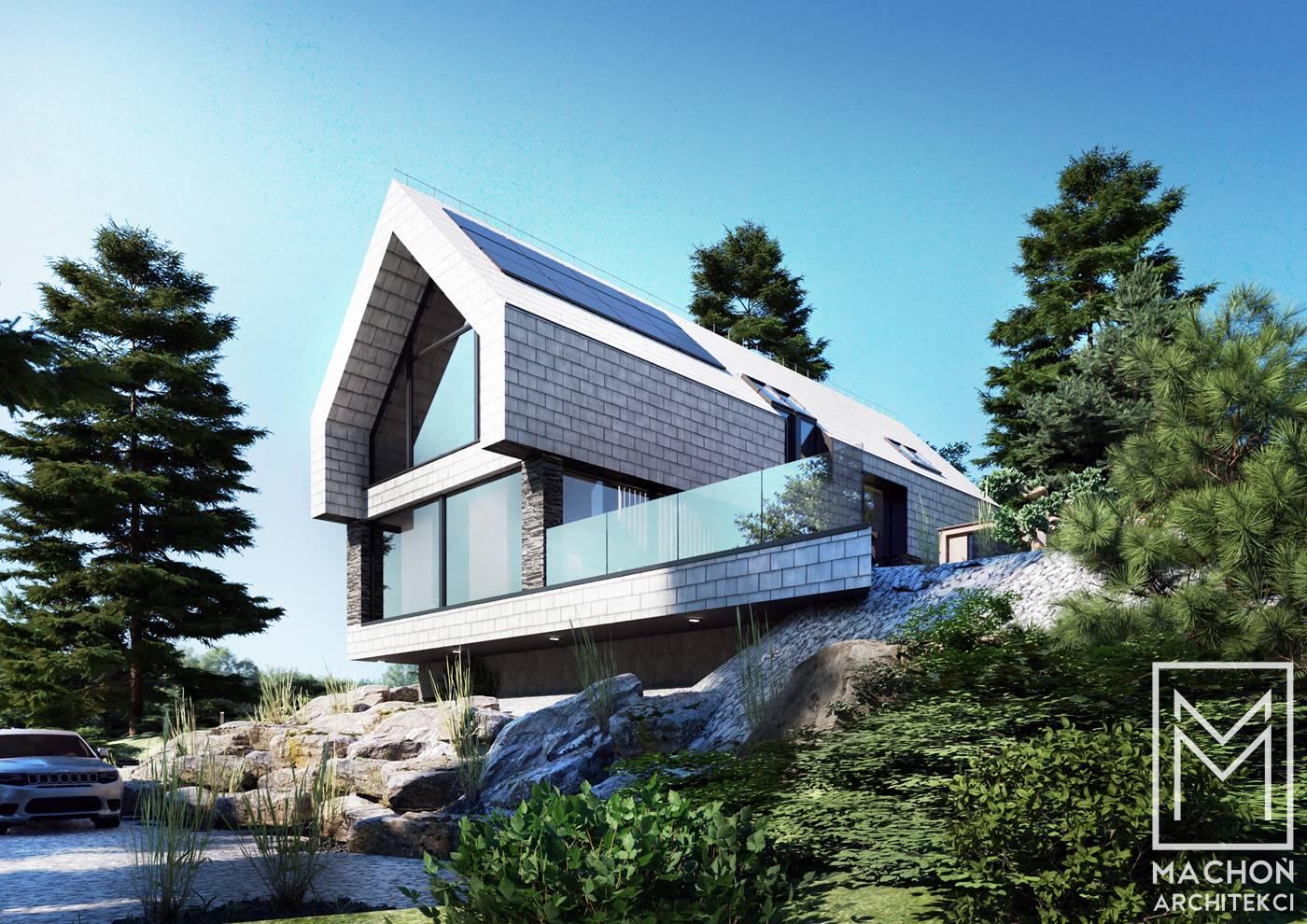 dolny śląsk architekt dom na skarpie na stoku projekt indywidualny nowoczesny stodoła