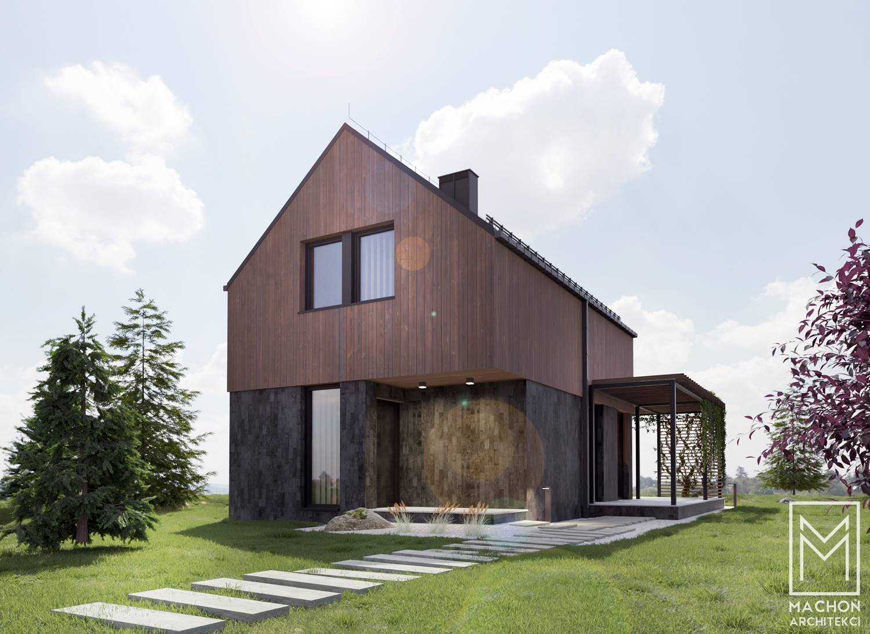 machon architekci projekty gotowe nowoczesne domy, osrodek wczasowy projektowanie dom nad jeziorem pod lasem dom z tarasem pergola nowoczesna