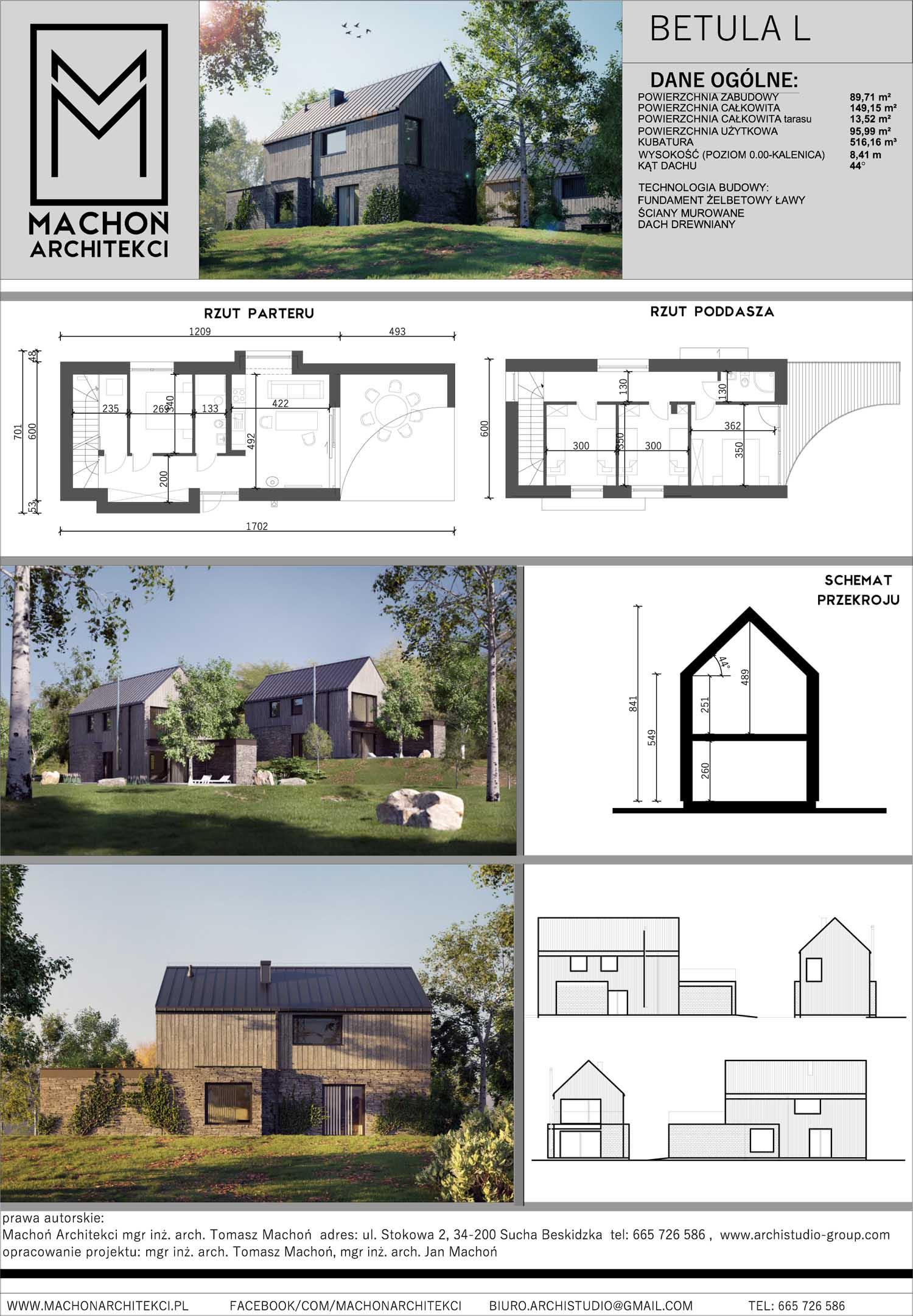 nowoczesny dom stodoła do 100m na wąską działkę w lesie w górach deska elewacyjna projekt gotowy