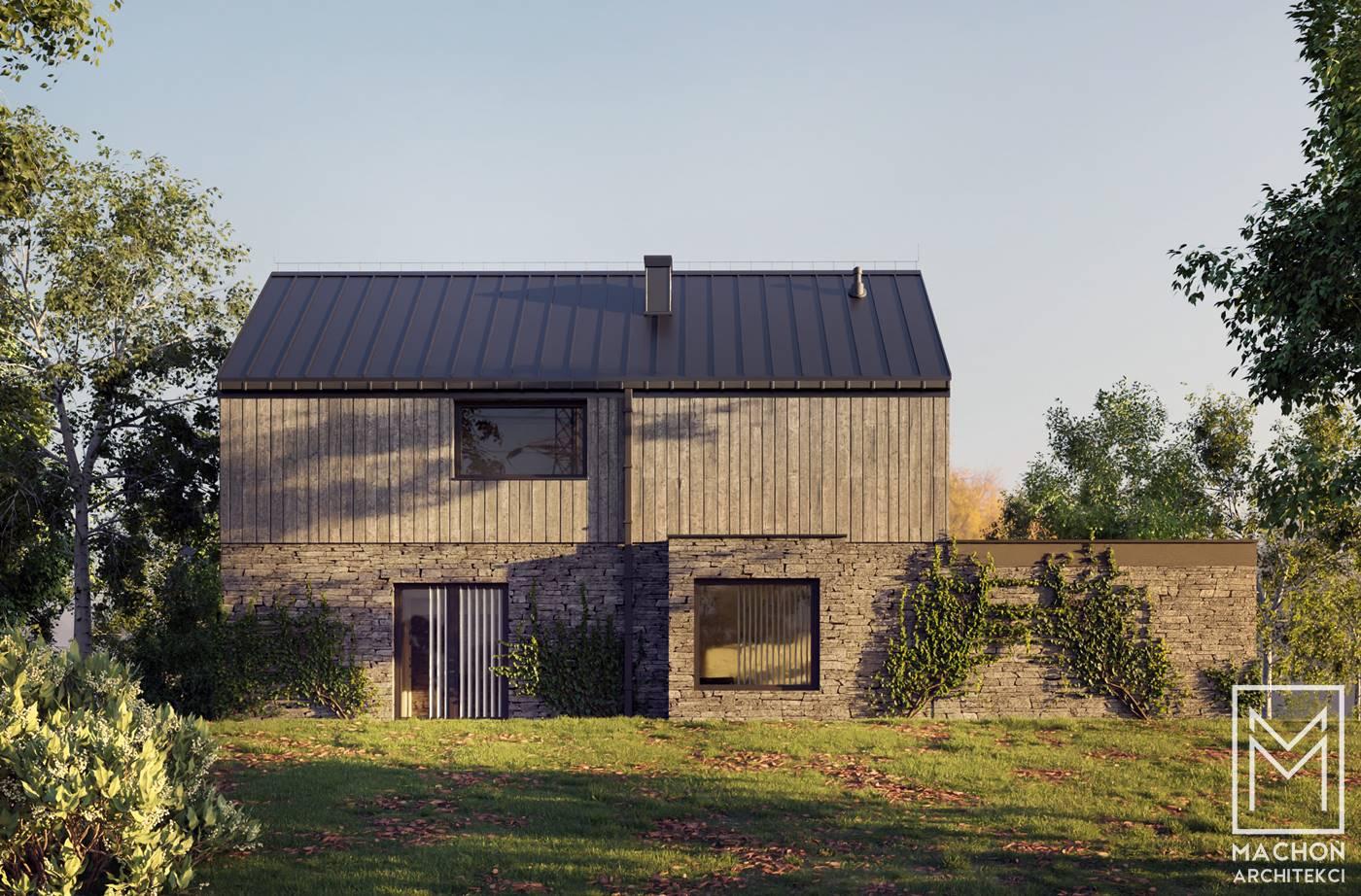 dom jednorodzinny w na wąską działkę