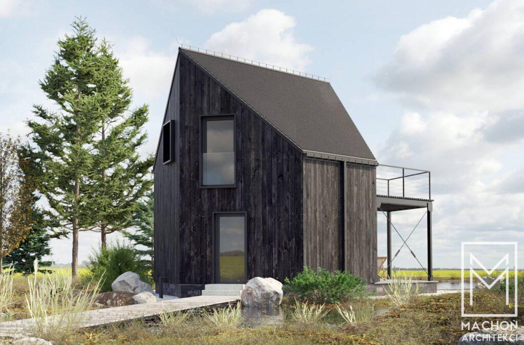 hexa house domek nowoczesny na zgłoszenie 35 m zabudowy stodoła 006deska cedral biały gont korten corten cor-ten nad jeziorem z antresolą z tarasem