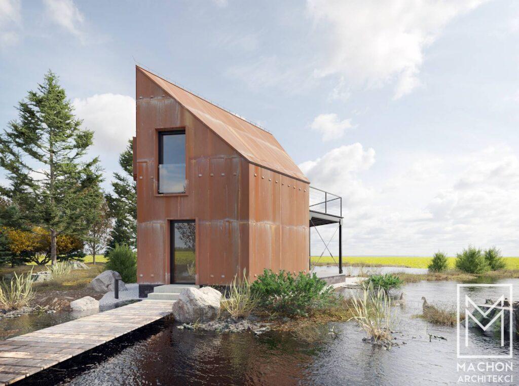 hexa house domek nowoczesny na zgłoszenie 35 m zabudowy stodoła 013deska cedral biały gont korten corten cor-ten nad jeziorem z antresolą z tarasem