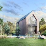 domek letniskowy 35 m szkieltowy nowoczesny stodoła w górach nad morzem nad jeziorem las łąka machoń architekt projekt