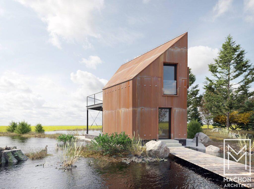 lustro hexa house domek nowoczesny na zgłoszenie 35 m zabudowy stodoła 014deska biały gont korten corten cor-ten nad jeziorem z antresolą z tarasem