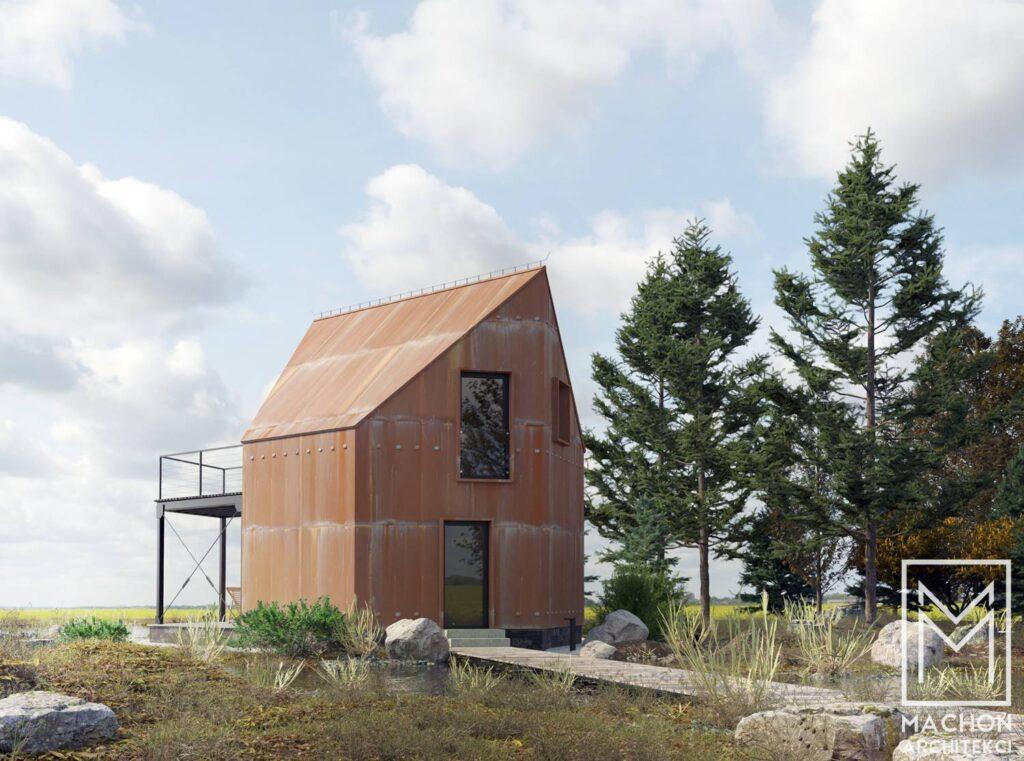 lustro hexa house domek nowoczesny na zgłoszenie 35 m zabudowy stodoła 013deska biały gont korten corten cor-ten nad jeziorem z antresolą z tarasem