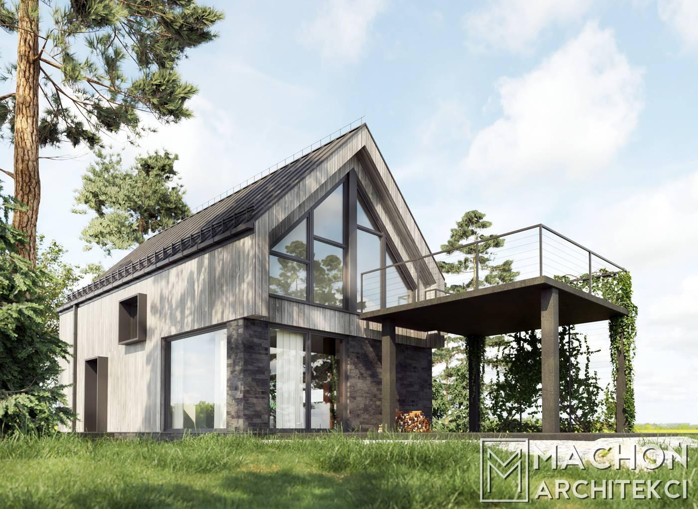 DIABLAK 100 Machoń Architekci szkieletowy stodola mieszkalny projekt z tarasem przeszklony deska elewacyjna