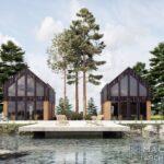 letniskowy całoroczny nowoczesny domek w górach na skarpie w lesie nad jeziorem projekt