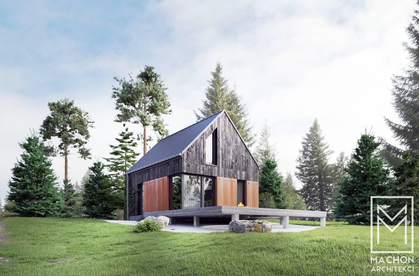 domek w górach nowoczesny stodoła projekt z tarasem pod lasem ośrodek wczasowy projekt