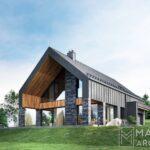dom w zawoi nowoczesny stodoła projekt indywidualny małopolska